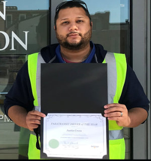 Justin 2020 driver of the year award at Freedom Transit in Washington, PA